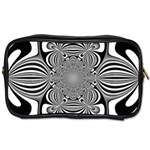 Black And White Ornamental Flower Toiletries Bags 2-Side Front