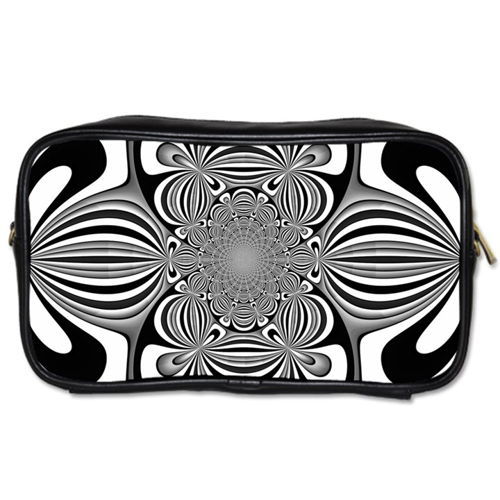 Black And White Ornamental Flower Toiletries Bags 2-Side