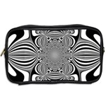 Black And White Ornamental Flower Toiletries Bags 2-Side Back