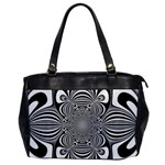 Black And White Ornamental Flower Office Handbags Front