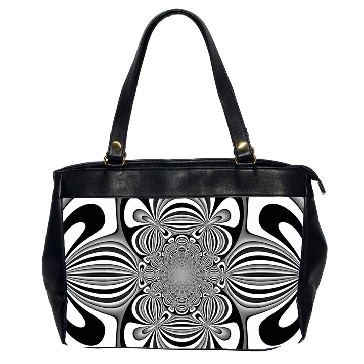 Black And White Ornamental Flower Office Handbags (2 Sides)