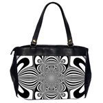 Black And White Ornamental Flower Office Handbags (2 Sides)  Back