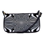 Black And White Ornamental Flower Shoulder Clutch Bags Front
