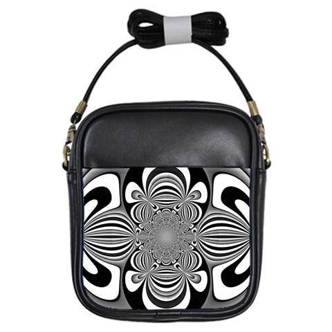 Black And White Ornamental Flower Girls Sling Bags