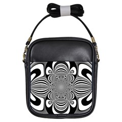 Black And White Ornamental Flower Girls Sling Bags