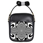 Black And White Ornamental Flower Girls Sling Bags Front