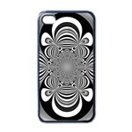 Black And White Ornamental Flower Apple iPhone 4 Case (Black) Front