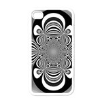Black And White Ornamental Flower Apple iPhone 4 Case (White) Front