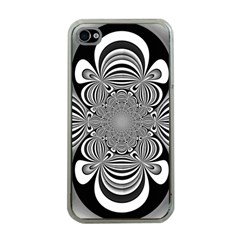 Black And White Ornamental Flower Apple iPhone 4 Case (Clear)