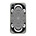 Black And White Ornamental Flower Apple iPhone 4 Case (Clear) Front