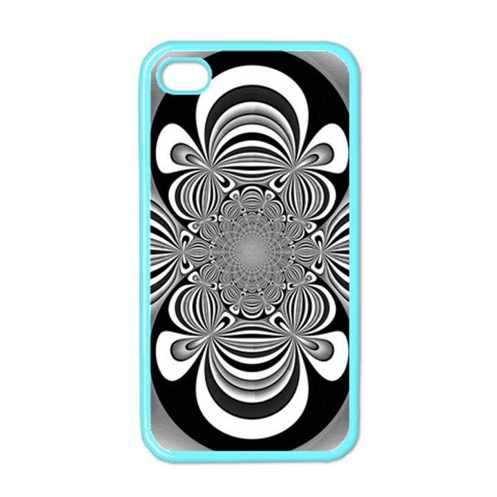 Black And White Ornamental Flower Apple iPhone 4 Case (Color)