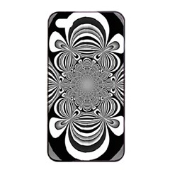 Black And White Ornamental Flower Apple iPhone 4/4s Seamless Case (Black)