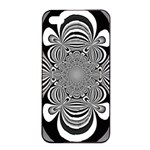 Black And White Ornamental Flower Apple iPhone 4/4s Seamless Case (Black) Front