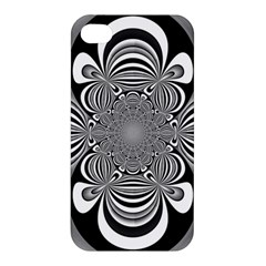 Black And White Ornamental Flower Apple Iphone 4/4s Hardshell Case