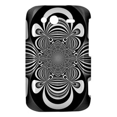 Black And White Ornamental Flower HTC Wildfire S A510e Hardshell Case