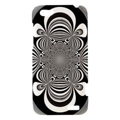 Black And White Ornamental Flower HTC One V Hardshell Case