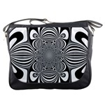 Black And White Ornamental Flower Messenger Bags Front