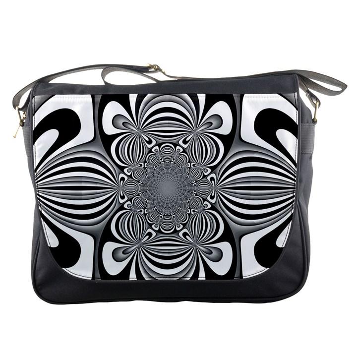 Black And White Ornamental Flower Messenger Bags