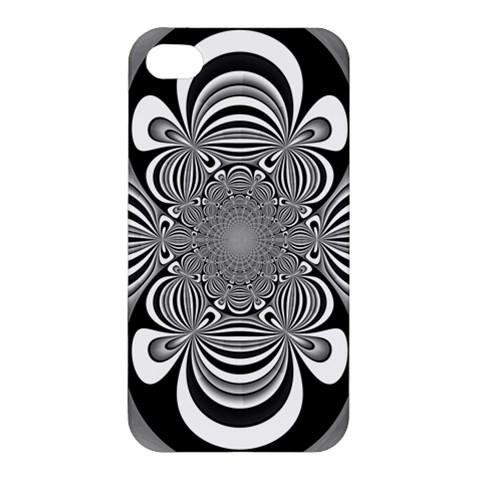 Black And White Ornamental Flower Apple iPhone 4/4S Premium Hardshell Case