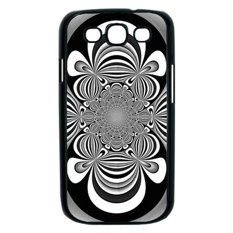 Black And White Ornamental Flower Samsung Galaxy S III Case (Black)