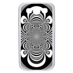 Black And White Ornamental Flower Samsung Galaxy S III Case (White) Front
