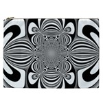 Black And White Ornamental Flower Cosmetic Bag (XXL)  Front