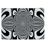Black And White Ornamental Flower Cosmetic Bag (XXL)  Back