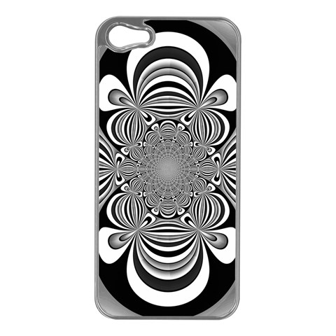 Black And White Ornamental Flower Apple iPhone 5 Case (Silver)