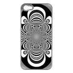Black And White Ornamental Flower Apple iPhone 5 Case (Silver) Front