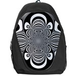 Black And White Ornamental Flower Backpack Bag Front