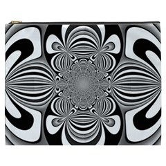 Black And White Ornamental Flower Cosmetic Bag (xxxl)