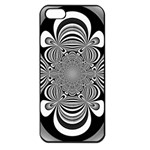 Black And White Ornamental Flower Apple iPhone 5 Seamless Case (Black) Front
