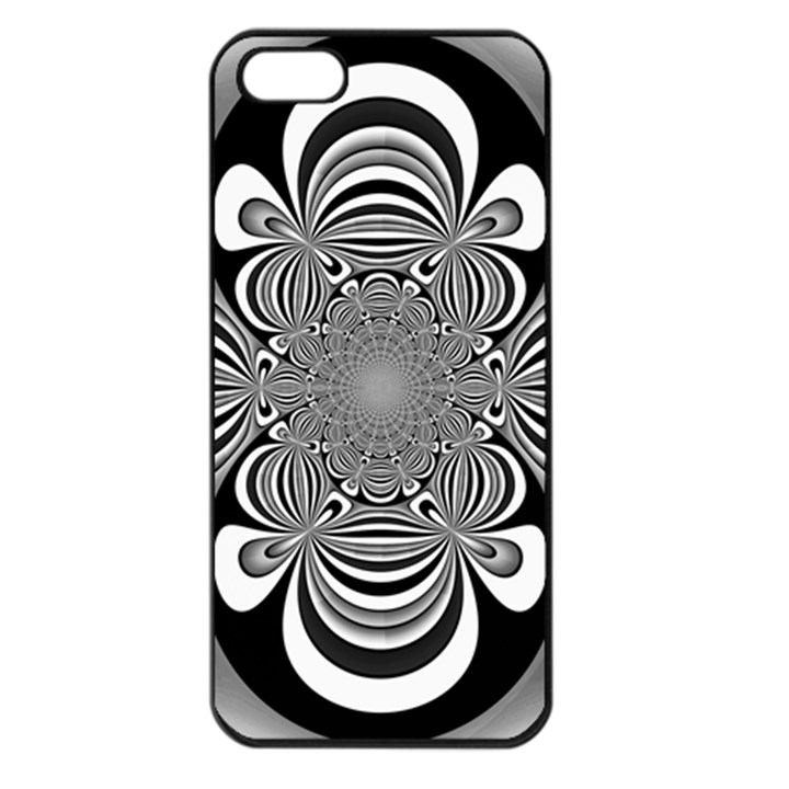 Black And White Ornamental Flower Apple iPhone 5 Seamless Case (Black)