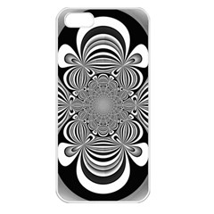 Black And White Ornamental Flower Apple iPhone 5 Seamless Case (White)