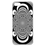 Black And White Ornamental Flower Apple Seamless iPhone 5 Case (Clear) Front