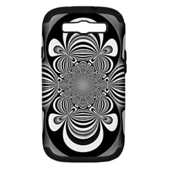 Black And White Ornamental Flower Samsung Galaxy S III Hardshell Case (PC+Silicone)