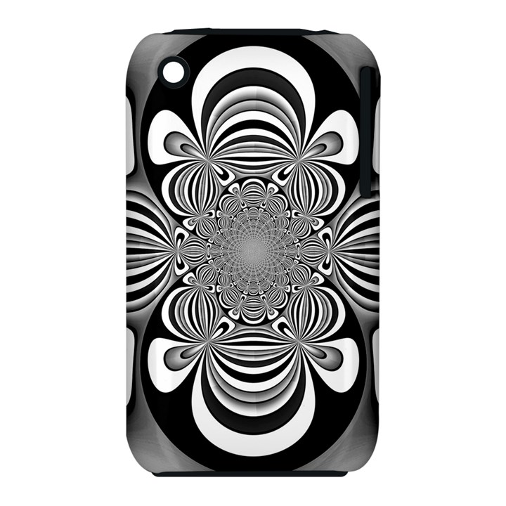 Black And White Ornamental Flower Apple iPhone 3G/3GS Hardshell Case (PC+Silicone)