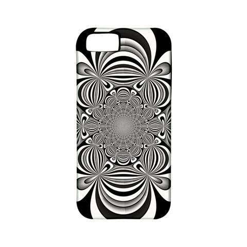 Black And White Ornamental Flower Apple iPhone 5 Classic Hardshell Case (PC+Silicone)