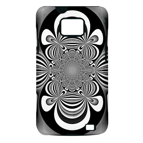 Black And White Ornamental Flower Samsung Galaxy S II i9100 Hardshell Case (PC+Silicone)