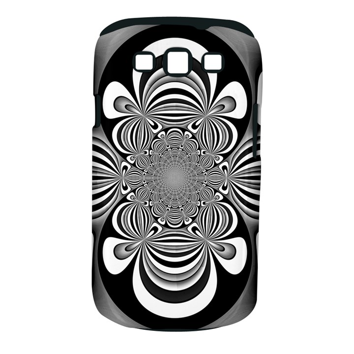 Black And White Ornamental Flower Samsung Galaxy S III Classic Hardshell Case (PC+Silicone)