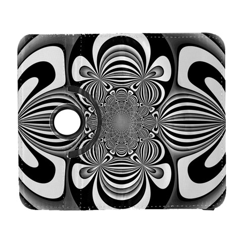 Black And White Ornamental Flower Samsung Galaxy S  III Flip 360 Case