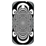 Black And White Ornamental Flower Samsung Galaxy S3 S III Classic Hardshell Back Case Front