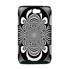 Black And White Ornamental Flower Samsung Galaxy Note 2 Hardshell Case (PC+Silicone)