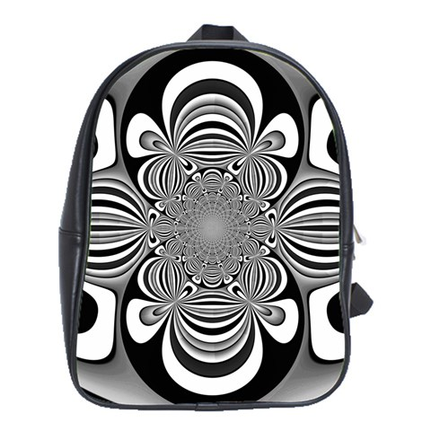 Black And White Ornamental Flower School Bags (XL)