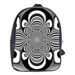 Black And White Ornamental Flower School Bags (XL)  Front