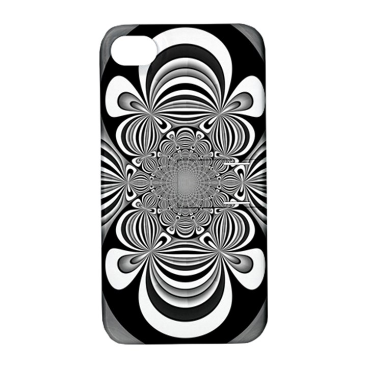 Black And White Ornamental Flower Apple iPhone 4/4S Hardshell Case with Stand
