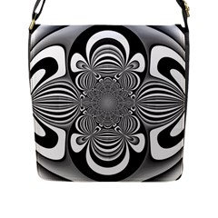 Black And White Ornamental Flower Flap Messenger Bag (l)