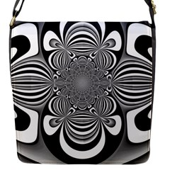 Black And White Ornamental Flower Flap Messenger Bag (S)