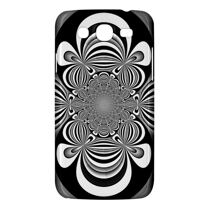 Black And White Ornamental Flower Samsung Galaxy Mega 5.8 I9152 Hardshell Case