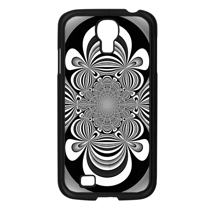 Black And White Ornamental Flower Samsung Galaxy S4 I9500/ I9505 Case (Black)